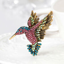 Lady Vintage Rhinestone Multi-Color Hummingbirds Brooch Pin Jewelry Gift Fashion