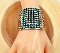 Native American Zuni 10 Row Dotted Turquoise Sterling Silver Cuff Bracelet