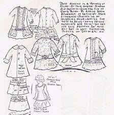 "19-21""ANTIQUE FRENCH JUMEAU/BRU DOLL BASIC DRESS&UNDERWEAR PATTERN GERMAN CHILD"