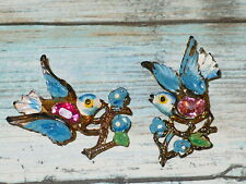 Vintage BLUEBIRD BROOCHES Brooch Scatter Pins Pink Jelly Belly Lot of 2
