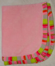 Blankets & Beyond Pink Stripe Trim Edge Fluffy Soft Baby Blanket