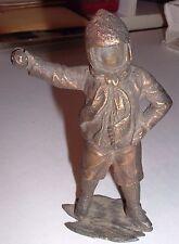 UNUSUAL Antique Metal Figure Statue / sculpture FACELESS Boy Throwing Snowball