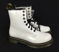 Doc Martens Patent Leather Air Wair 1460 White Combat Boots 8-Eyelet NWOT