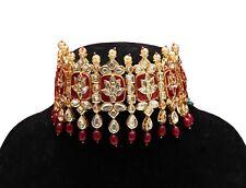 Pakistani Bollywood Ethnic Fancy Fine Choker Red Lotus Beads Meenakari Stud Set