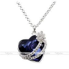 Damen Mode süß Blau Strass Herz Anhänger silber Halskette Schmuck Geschenk