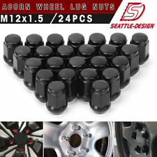 (24) 12x1.5 Black Lug Nuts Bulge Acorn for Ford Toyota Honda Hyundai 6-Lug Wheel