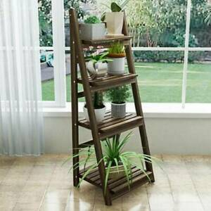4 Tier Flower Plant Pot Shelf Display Ladder Garden Rack Step Style Wood Outdoor