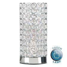 Modern Cylinder K9 Crystal Glass Jewel Touch Table Lamp Light Bedside Lighting