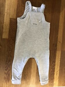 Next Baby Boy Grey Happy Dungarees 12-18 Months Used