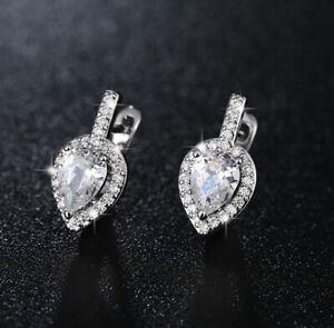 Fashion 18K White Gold GF Stunning Waterdrop Swarovski Crystal Stud Earrings