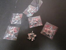 6 Vintage Oker Brand Floral Jewelry Making Silver Tone Pieces 4 Lilies 2 Daisies