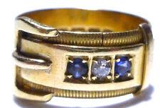 18K YELLOW GOLD EUROPEAN ENGLISH BLUE SAPPHIRE & DIAMOND BUCKLE RING BAND