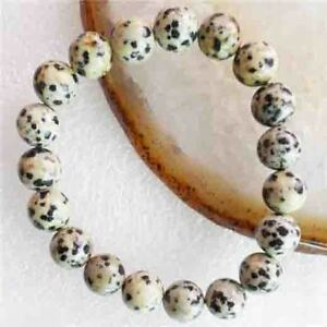 10mm Dalmation Jasper Round Beads Stretchy Women Lady Girl Bangle Bracelet