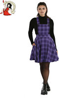 Hell Bunny Kennedy Pinafore Mini Dress Tartan Check Short Purple