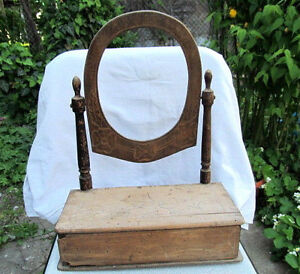 OLD ANTIQUE PRIMITIVE WOODEN DRAWER CABINET MIRROR TOILET LOCKER EARLY 20th