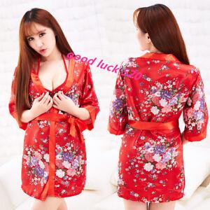 Red Japanese kimono underwear uniforms temptation role play suit
