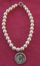 Catholic Religious Holy Medal Bracelet / Faux Pearls / Our Lady Lourdes - FRANCE