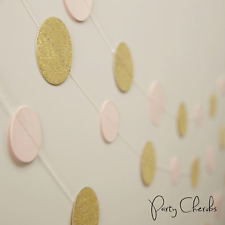 PINK AND GOLD GLITTERY GARLAND - PARTY / BABY SHOWER DECORATION