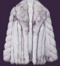 REVILLON BLUE FOX REAL FUR COAT  S -M  + FREE GARMENT