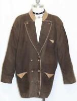 LEATHER JACKET Over Coat BROWN Women German Hunting Western Ranch Blazer 46 16 L