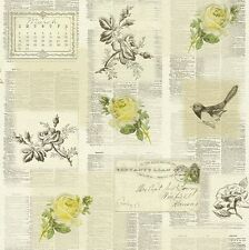Rasch Tiles More-Lemon Green White Newspaper Old Letters Birds Wallpaper 885231