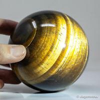 855g 85mm Natural Golden Yellow Tiger Eye Quartz Crystal Sphere Healing Ball