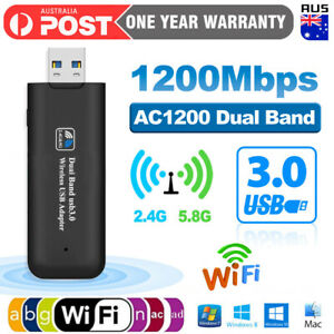 USB 3.0 Wireless 1200Mbps WiFi Network Receiver Adapter 5GHz Dual Band Dongle