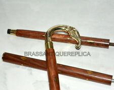 """Solid Brass Elephant Handle Wooden Walking Stick In 3 Fold Cane 36""""Long style"""