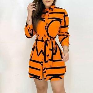 2021 New Ladies Fashion Belt Dress, Positioning Printing Dyeing Stitching Dress