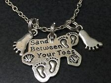 """Beach Theme Sand Between My Toes Mix D Charm Tibetan Silver 18"""" Necklace B20"""
