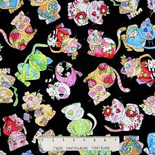Loralie Designs Fabric - Rainbow Calico Cats Toss Black - Cotton YARD