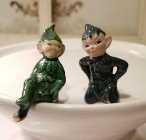 2 Mini Vintage Green *PIXIE ELF FIGURINES*  Christmas