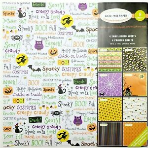 Halloween Scrapbook Pages Set/8 12x12 Acid-free Embellished Glitter Lightweight