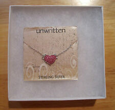 """Unwritten~Sterling Silver 925~Pink Pave Crystal Heart Pendant~Chain Necklace~18"""""""