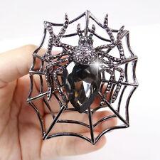 Tarantula Spider Animal Web Brooch Pin Black Rhinestone Crystal Vintage Style
