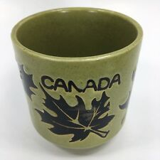 Vintage Coffee Mug Cup Canada Souvenir Green Maple Leaf