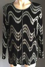NWOT BEE AUSTRALIA Black & Silver Long Sleeve Top Size OSFA (12-16)