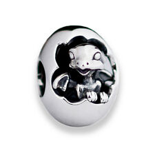 New Hatching Baby Dragon Sterling Silver Charm Bead S925, Baby Dragon Egg Charm