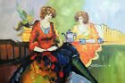 Redhead Ladies Sisters 1920s Coffee House Tea Cafe 24X36 Oil Painting STRETCHED