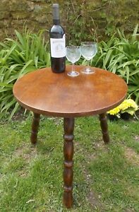 vintage low table,3 legged oak coffee table, wine table, French,