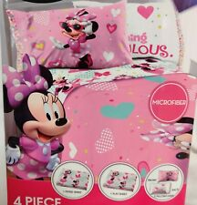 Disney Minnie Mouse Full Size 4 Piece Sheet Set New Pink Bedding