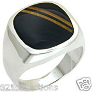 925 Sterling Silver Black Semi-Precious Onyx Brown Stripe Men's Ring Size 11