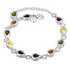 Fashion Women 925 Silver Plated Crystal Chain Colorful Bracelet Bangle Jewelry F