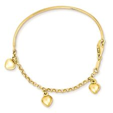 14k Yellow Gold 2mm Polished Dangle Heart Baby Bracelet 6""