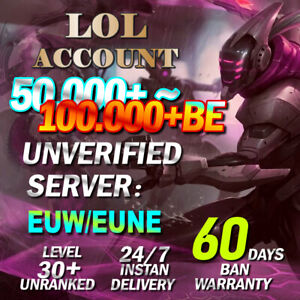 EUW EUNE League of Legends Account LOL Smurf 50,000~100.000 BE Level 30 Unranked