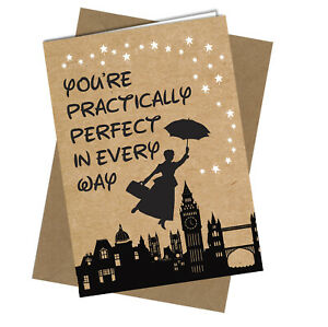 #901 Practically Perfect Mary Poppins Birthday Valentines Friend Greetings Card