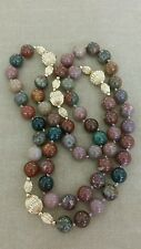 Vintage 14K Gold Heliotrope Bloodstone Bead Necklace 30'' 14KT Karat 78.6g