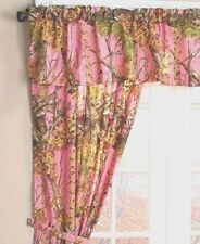 """The Woods©"" Pink Licensed Curtain Set - 5 Piece Camo Curtains Valance Tie Backs"