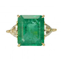 Art Deco 3.87ct Green Emerald & Diamond Antique Vintage Ring 925 Sterling Silver