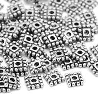 Metallperlen Spacer Silber Quadrat 7mm für Hlaskette Armband Ohrring BEST F142